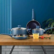 5pc URBN-CHEF Diamond Ceramic Teal Induction Cooking Saucepan Frying Pan Pot Set