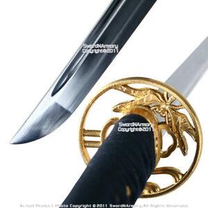 Handmade Musashi Brand 1060 Steel Samurai Katana Sword w/ Gold Dragonfly Tsuba