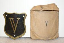 NOS 1920's-1930s Monogram Full Size Motometer Cap Shield Letter V Black & Brass