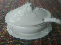 SALE. Huge Vintage Italian White Ceramic Lidded Tureen, Matching Tray & Ladle.