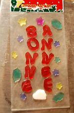 """logo autocollant en gel """"bonne annee"""" rouge   decoration  noel  neuf"""