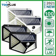 100 LED Solar Power Lights PIR Motion Sensor Wall Lamp Garden Outdoor Waterproof