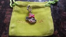Authentic Chamilia Disney Minnie Smiles Jet Swarovski Zirconia Fuchsia Enamel