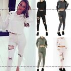 WOMENS LADIES HOODED HOODIE CUFFED DISTRESSED RIPPED LOUNGE WEAR TRACKSUIT SET