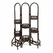 6 Tier Natural Rattan Wicker Plant Flower Stand Dark Brown