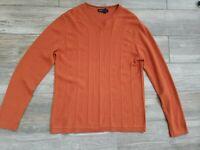 Banana Republic Cinnamon Extra Fine Merino Wool Lined V-Neck Sweater In Medium