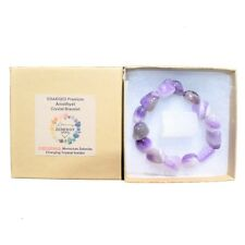 CHARGED Amethyst Crystal Bracelet Tumble Polished Stretchy CALMING ENERGY REIKI