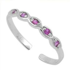 925 Ruby Cz Height 2 mm Adjustable Infinity Toe Ring Genuine Sterling Silver