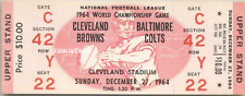 1964 NFL CHAMPIONSHIP VINTAGE UNUSED FULL TICKET CLEVELAND BALTIMORE laminat pk
