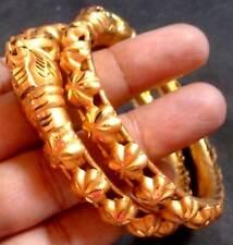 1 Pair 22K Gold Plated Indian Bangles Bala Churi Bracelet All Purpose 2.4''