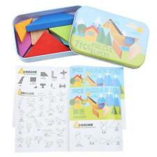 Kids Tangram Bright Color Wooden Puzzle Toys Jigsaw Baby Brain Early Exercise Y2
