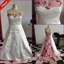 Pink Tree Camo Wedding Dresses Camouflage Lace Up Bridal Gowns Custom Made