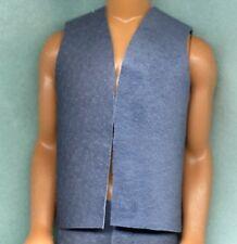 Ken Barbie Doll Clothes - Coat / Vest - Blue Denium Color Genuine Suede Leather