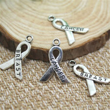 25pcs Breast Cancer Charms Ribbon Awareness, Breast Cancer charm pendant 23x16mm