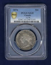 CANADA VICTORIA  1870 L.C.W.  50 CENTS SILVER COIN, CERTIFIED BY PCGS XF45