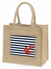 New Nautical Stripe Design Large Natural Jute Shopping Bag Christ, NAUTICAL-1BLN