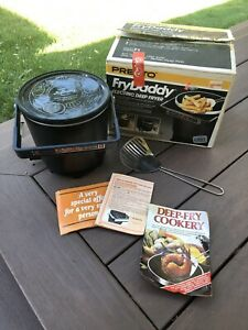 Vintage Presto Fry Daddy 05420 Electric Deep Fryer Slotted Spoon 1200 Watts