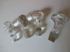 Lot de 4 ancien bouchon de carafe verre / cristal