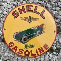 Vintage SHELL GASOLINE Porcelain Metal Sign GREEN STREAK Gas Station Race Car US