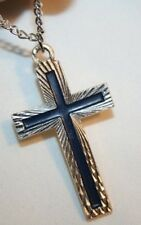 Starburst Silvertne Black Enamel Cross Pendant Necklace ++