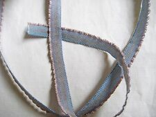 3 yds French Lettuce Edge Ruffle Gray/Blue Pink Edge Ribbon Trim Unused