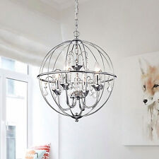 Chrome Crystal Orb Chandelier Light Globe Pendant with Crystals Ceiling Lighting