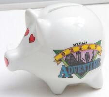 "Six Flags Great Adventure NJ 3"" Pig Bank Piggy Hearts - Ceramic - USED C09L"