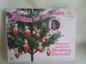 VINTAGE 1980 STRAWBERRY SHORTCAKE HARD PLASTIC HOLIDAY PARTY LIGHTS UNUSED