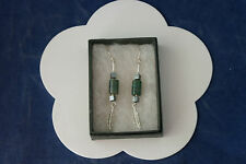 Beautiful Earrings With Green Argate And Imotite 5.8 Gr.6 Cm.Long + Hooks In Box