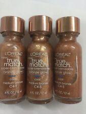 3 X L'OREAL True Match Super-Blendable Bronze Glow Cool Medium Bronze C 4-5.