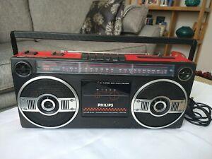 Rare Red Philips Portable, Radio, Cassette, Boom Box D8050/05L Ghetto Blaster