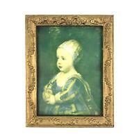 "Vintage Antique Gesso Gold Gilt 9.5""x7.5 Picture Painting Print Frame Wood Art"