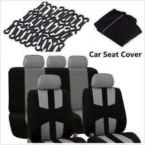9 x 5-Seats Seat Cover Mesh Polyester Front + Rear Protector Cover For Car Sedan