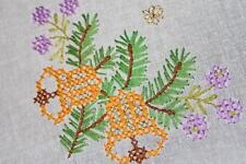 Golden Christmas Bells & Purple Flower Buds! Vtg German Hand Emb Tablecloth