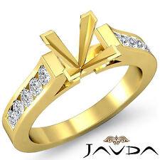 Round Channel Set Diamond Wedding Ring 14k Yellow Gold Princess Semi Mount 0.3Ct