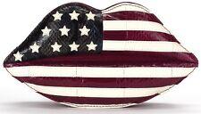 LULU Guinness Imbottito Labbra Bandiera Americana USA Pelle Di Serpente Pochette £ 475!