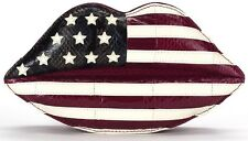 Lulu Guinness Acolchado Labios USA American Flag Piel De Serpiente Clutch Bag £ 475!