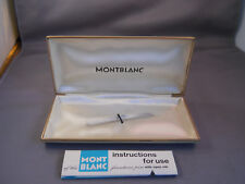 Mont Blanc white single pen box with green imprint on inside with instructions