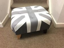 Shades of Grey Footstool / Pouffe /small Union Jack faux leather  British Made