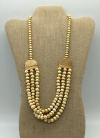 VINTAGE BOHO HIPPIE TRIPLE STRAND CREAM TAN BONE BEAD NECKLACE WITH BARREL CLASP