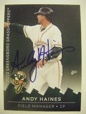 ANDY HAINES signed 2010 GREENSBORO baseball card AUTO EASTERN ILLINOIS Autograph