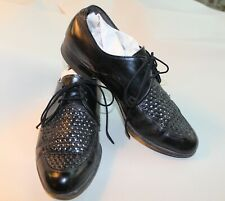 Vtg 60s WOVEN LEATHER MENS RETRO SHOES POINTED TOE FLORSHEIM LIGHTWEIGHTS 8 C