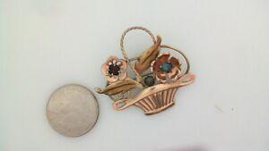 Vintage VAN DELL 1/20th 12k Gold Fill Flower Basket Rose Gold Color Brooch Pin