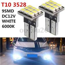 2x T10 Wedge W5W 168 194 161 9-SMD 3528 LED Car Light Bulb Lamp 12V White 6000K