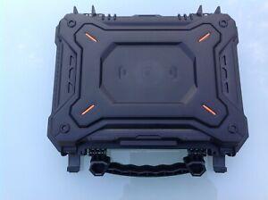 "Airsoft Pistol Gun Case Carry Box Hard Plastic Black 12"" Long Safety CAMERA NVG"