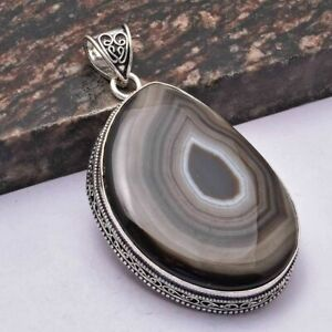 "Botswana Agate Ethnic Handmade Antique Design Pendant Jewelry 2.6"" AP 31708"