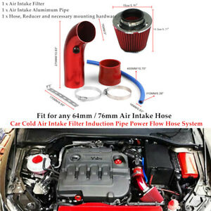 """3/2.5""""Universal Car Cold Air Intake Filter Induction Pipe Power Flow Hose System"""