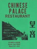 Vintage CHINESE PALACE Restaurant Menu, Dayton Ohio 1980