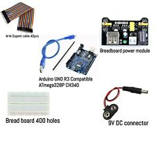 ARDUINO UNO R3 ATmega328 with USB Cable, Power Module, M-M Cables