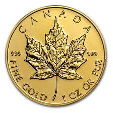 Random Year 1 oz Gold Canadian Maple Leaf Coin .999 Fine